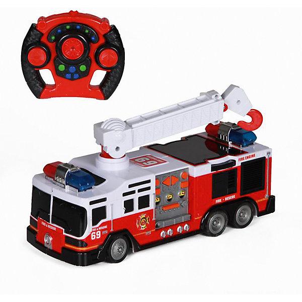 Радиоуправляемая машинка Yako Toys ПожарнаяРадиоуправляемые машины<br>Характеристики товара:<br><br>• возраст: от 5 лет;<br>• цвет: красный;<br>• размер упаковки: 29х30х31 см.;<br>• комплект: машинка, пульт управления;<br>• тип батареек для пульта: 4 x AA / LR6 1.5V (пальчиковые).<br>• наличие батареек для пульта: не входят в комплект;<br>• состав: пластик, металл;<br>• вес: 1,1 кг.;<br>• упаковка: картонная коробка блистерного типа;<br>• бренд, страна: Yako Toys, Китай;<br>• страна-производитель: Китай.<br><br>Машинка «Пожарная» на радиоуправлении от торговой марки  Yako Toys представляет модель оного из видов техники специального назначения. Она сможет заинтересовать ребенка не только своим тематическим дизайном, но также некоторыми функциональными особенностями.<br><br>На крыше транспортного средства установлена характерная лестница. Благодаря конструктивному строению ее можно вращать на 360°, поднимать и опускать, а также раздвигать и вытягивать, увеличивая в длину. Движениями самой машинки можно управлять на расстоянии с помощью пульта радиоуправления. Световые и звуковые эффекты, встроенные в игрушку, помогут сымитировать звук и мигание огней включенной сирены.<br><br>Реалистичный дизайн и все функции игрушки приведут в восторг любого мальчика и поклонника автотранспорта.Игрушки от бренда от Yako Toys выполнены из высокачественного материала безвредного для детского здоровья.<br><br>Машинку «Пожарная» на радиоуправлении, цвет красный, Yako Toys (Яко Тойз)  можно купить в нашем интернет-магазине.<br><br>Ширина мм: 300<br>Глубина мм: 290<br>Высота мм: 310<br>Вес г: 1100<br>Возраст от месяцев: 36<br>Возраст до месяцев: 72<br>Пол: Мужской<br>Возраст: Детский<br>SKU: 7172272