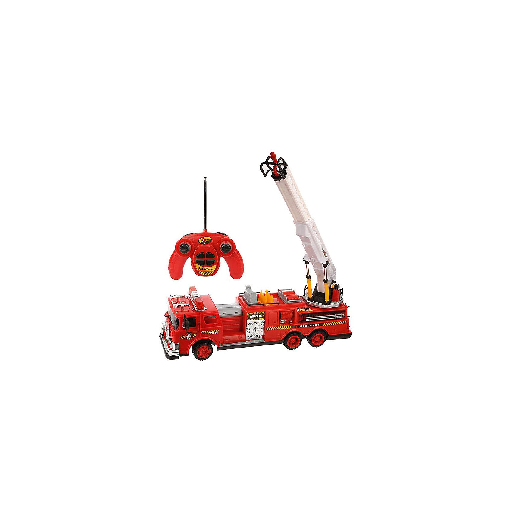 Радиоуправляемая машинка Yako Toys Пожарная Fire EngineРадиоуправляемые машины<br>С радиоуправляемой пожарной машиной ребенок сможет возглавить пожарную бригаду и отправиться на опасную миссию по устранению пожара. Модель автомобиля тщательно проработана и детализирована, а также оснащена выдвижной пожарной лестницей.Пульт управления  прост в использовании, что позволит добиться еще большей маневренности пожарного автомобиля. С такой серьезной техникой жители игрушечного городка смогут спать спокойно и чувствовать себя в полной безопасности.•Классическая красно-белая расцветка пожарной службы.•Игрушка изготовлена из высококачественного пластика с металлическими элементами.•На крыше транспортного средства установлен подъемник с лестницей. Его можно вращать на 360°, поднимать и опускать, а также раздвигать и вытягивать, увеличивая в длину. •Удобный для детских рук и простой в обращении пульт управления.•В комплекте машинка, пульт управления.<br><br>Ширина мм: 700<br>Глубина мм: 160<br>Высота мм: 240<br>Вес г: 2500<br>Возраст от месяцев: 36<br>Возраст до месяцев: 72<br>Пол: Мужской<br>Возраст: Детский<br>SKU: 7172274