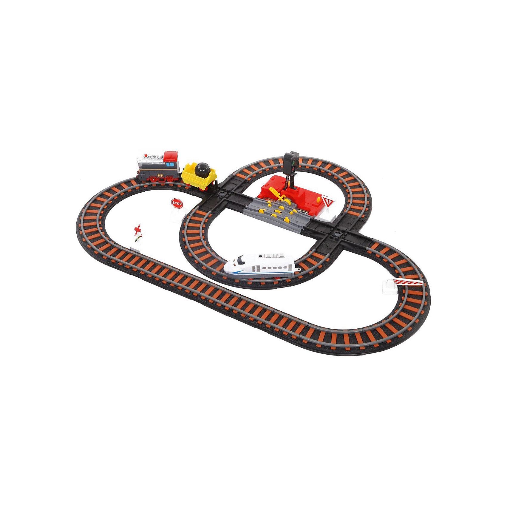 Железная дорога Yako Toys Останови крушение!, 2 перекрестка, механизм остановки, семафорЖелезные дороги<br>Железная дорога. Останови крушение!. 2-х ярусная. С перекрёстком и семафором.<br>В наборе 2 пути и 2 поезда: скоростной локомотив и паровоз с вагоном.  Паровоз можно остановить, используя специальный механизм остановки.  Если этого не сделать, произойдёт крушение. . Железнодорожные пути расположены в 2-х уровнях.  Новым элементом набора является семафор. Семафор соединяется с механизмом остановки поезда. При включённом красном сигнале семафора поезд останавливается. Переводя рычаг в положение движение поезда создаётся возможность движения паровоза без остановки. При этом семафор работает в режиме зелёного, разрешающего сигнала.<br><br>Ширина мм: 210<br>Глубина мм: 300<br>Высота мм: 170<br>Вес г: 1500<br>Возраст от месяцев: 36<br>Возраст до месяцев: 72<br>Пол: Мужской<br>Возраст: Детский<br>SKU: 7172283