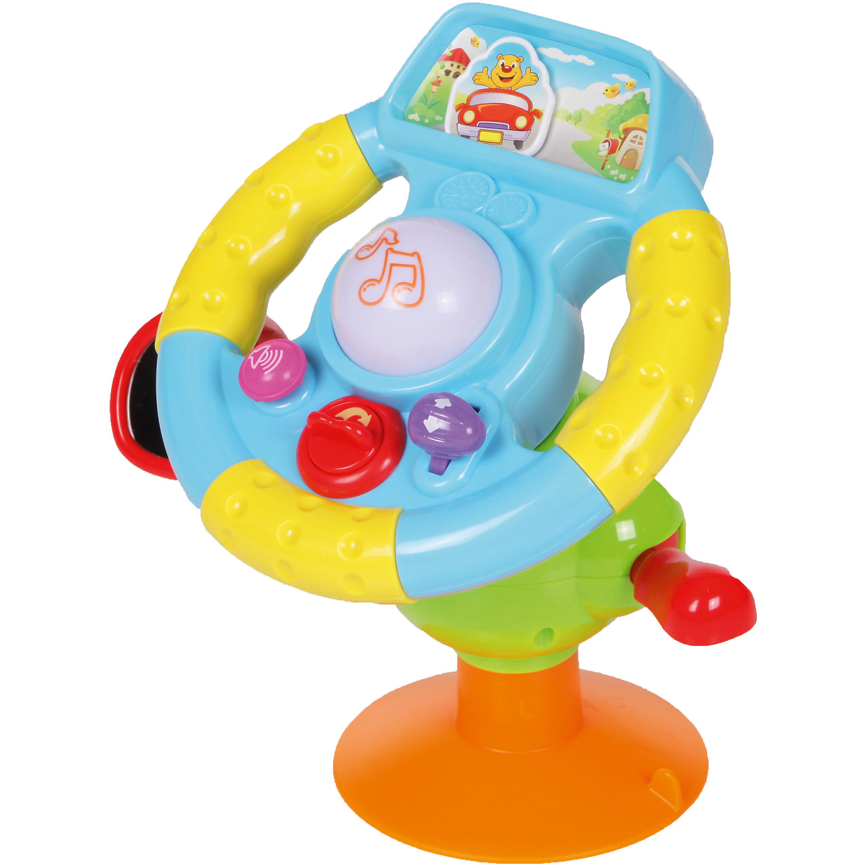 Интерактивная игрушка Huile Toys Руль музыкальный, большойИнтерактивные игрушки для малышей<br>Такой музыкальный руль непременно понравится вашим юным гонщикам.Крепится к столу основанием -присоской. Поворот рычага старт: звук стартера, двигателя. <br>Рычаг справа: вверх-звук двигателя, набирающего обороты; вниз - писк. Кнопка слева с изображением громкоговорителя - сигналы (3 варианта). <br>Большая кнопка на руле: музыка (3 варианта). При повороте руля машинка смещается вправо и влево по дороге (изображение сверху). Рычаг под рулем справа поворотник - щелчки. Зеркало слева на шаровой опоре, что позволяет его регулировать, устанавливая в любое положение. Рулевое колесо - также на шаровой опоре.Питание: 2*АА (не в комплекте).<br><br>Ширина мм: 220<br>Глубина мм: 220<br>Высота мм: 60<br>Вес г: 800<br>Возраст от месяцев: 6<br>Возраст до месяцев: 18<br>Пол: Унисекс<br>Возраст: Детский<br>SKU: 7172292