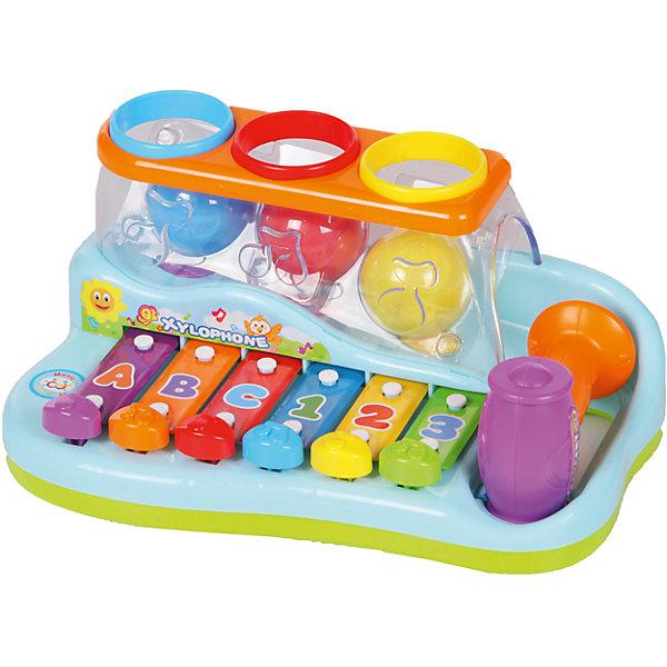 Музыкальная игрушка Huile Toys Ксилофон с молоточком и шарамиКсилофоны<br>Характеристики товара:<br><br>• возраст: от 0 лет;<br>• размер игрушки: 17х26х12 см.;<br>• тип батареек: 2 x AA / LR16 1.5V (пальчиковые, нет в комплекте);<br>• состав: пластик;<br>• упаковка: картонная коробка блистерного типа;<br>• вес в упаковке: 850 гр.;<br>• бренд, страна: Huile Toys, Китай;<br>• страна-производитель: Китай.<br><br>Музыкальную игрушку «Ксилофон с молоточком и шарами» - представляет собой яркий и красочный инструмент, на котором можно создавать мелодии. <br><br>Каждая клавиша соединена с пластиной, издающей звуки. Шарик, подпрыгивающий на пружине, также вносит свою ноту в исполнение мелодии. Нажимать на клавиши нужно при помощи молоточка. Каждая клавиша имеет свой цвет и обозначение в виде буквы латинского алфавита или арабской цифры.<br><br>Такая логическая игрушка поможет расширить кругозор малыша, а также поможет узнать много нового и полезного.<br><br>Игрушки от бренда от Huile Toys выполненны из высокачественного нетоксичного материала безвредного для детского здоровья.<br><br>Музыкальную игрушку «Ксилофон с молоточком и шарами» Huile Toys  можно купить в нашем интернет-магазине.<br><br>Ширина мм: 260<br>Глубина мм: 170<br>Высота мм: 12<br>Вес г: 850<br>Возраст от месяцев: 6<br>Возраст до месяцев: 18<br>Пол: Унисекс<br>Возраст: Детский<br>SKU: 7172294