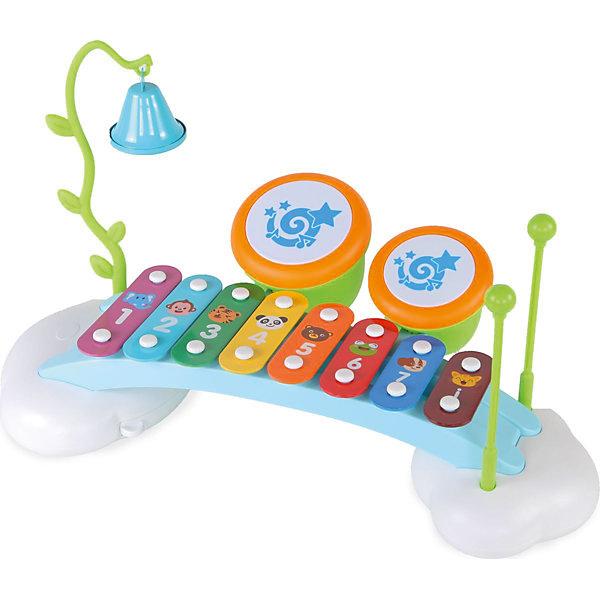 Музыкальный центр Huile Toys, ксилофон, барабаны, колокольчикДругие музыкальные инструменты<br>Ксилофон - 8 пластин, колокольчик на подвеске, 2 мини барабана<br><br>Ширина мм: 410<br>Глубина мм: 220<br>Высота мм: 90<br>Вес г: 1300<br>Возраст от месяцев: 6<br>Возраст до месяцев: 18<br>Пол: Унисекс<br>Возраст: Детский<br>SKU: 7172297