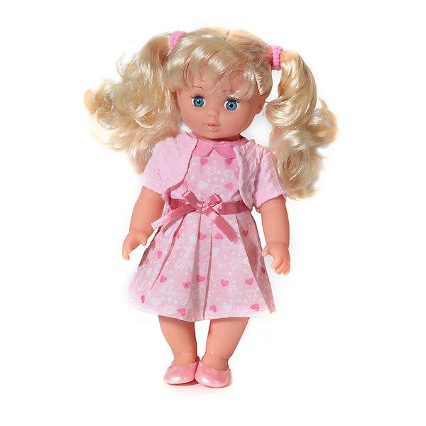 Интерактивная кукла Карапуз Полина. Стихи Барто, 25 см (в розовом)Бренды кукол<br>Характеристики товара:<br><br>• возраст: от 3 лет;<br>• размер упаковки: 8х30х17см;<br>• размер куклы: 25 см;<br>• работает от батареек (входит в комплект);<br>• материал: пластик, текстиль;<br>• упаковка: картонная коробка с окошком;<br>• страна бренда: Россия.<br><br>Кукла Полина - очаровательная куколка, которая выглядит словно маленькая белокурая девочка с волнистыми светлыми волосами и выразительными голубыми глазами. Её наряд выполнен в приятных розовых тонах. <br><br>Длинные, слегка волнистые светлые волосы собраны в 2 хвостика. Полагаясь на свой вкус, девочки смогут делать ей разнообразные модные причёски.<br><br>Кукла имеет подвижные части тела и может принимать во время игры любую позу. Игрушка снабжена встроенным звуковым модулем, поэтому развлечёт ребёнка стихами и песенками Агнии Барто.<br><br>Детские стихи замечательной детской поэтессы легко запоминаются, поэтому вскоре дети смогут их рассказывать наизусть.<br><br>Кукла 25см Карапуз можно купить в нашем интернет-магазине.<br><br>Ширина мм: 29<br>Глубина мм: 8<br>Высота мм: 16<br>Вес г: 410<br>Возраст от месяцев: 36<br>Возраст до месяцев: 84<br>Пол: Женский<br>Возраст: Детский<br>SKU: 7174567