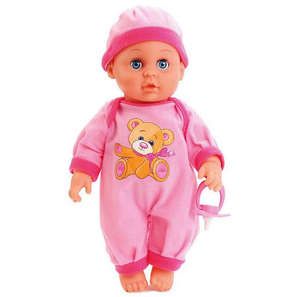 Интерактивная кукла-пупс Карапуз Пупс в розовом. Стихи Барто, 30 смБренды кукол<br>Характеристики товара:<br><br>• возраст: от 3 лет.<br>• размер упаковки: 11 х 19 х 31 см.<br>• размер куклы: 30 см.<br>• питание: 1 батарейка CR2032 (входит в комплект).<br>• материал: пластик, текстиль.<br>• упаковка: картонная коробка с окошком.<br>• страна бренда: Россия.<br><br>Этот очаровательный малыш сразу же понравится девочкам, ведь он настолько милый, что сразу же хочется прижать его к себе и заботиться о нем. Помимо внешней привлекательности пупс поразит новую хозяйку весёлыми стишками известной детской поэтессы, а также песенкой о лошадке. <br><br>Кукла выглядит очень реалистично благодаря детально проработанным складочкам на теле и выразительным чертам лица.<br><br> Игрушка озвучена, поэтому при нажатии на животик она поет песенку «Лошадка» и стихи Агнии Барто «Бычок», «Зайка» и «Мишка».<br>У пупса подвижные части тела (голова, ноги, руки), поэтому его можно сажать на стульчик или класть в постель.<br><br>Твердое тело пупса выполнено из пластика высокого качества, а его наряд – из прочного гипоаллергенного текстиля.<br><br>Пупса 30 см озвученный (А. Барто), с твердым телом, с аксессуарами можно купить в нашем интернет-магазине.<br><br>Ширина мм: 31<br>Глубина мм: 11<br>Высота мм: 19<br>Вес г: 580<br>Возраст от месяцев: 36<br>Возраст до месяцев: 84<br>Пол: Женский<br>Возраст: Детский<br>SKU: 7174568