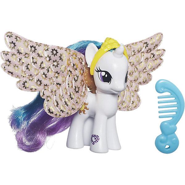 Пони с артикуляцией, My little Pony,B0358/B5717,HasbroФигурки из мультфильмов<br>Характеристики товара: <br><br>• возраст: от 3 лет;<br>• герой: Мои маленькие пони / My Little Pony;<br>• в наборе: фигурка лошадки, крылья, расческа;<br>• материал: пластик;<br>• размер упаковки: 20х16.3х4.5 см;<br>• упаковка: картонная коробка блистерного типа;<br>• страна обладатель бренда: США.<br><br>Игровой набор Princess Celestia из серии My Little Pony от бренда Hasbro понравится многим маленьким девочкам. Красивая белая пони с ярким радужным блестящим хвостом и двухцветной гривой - это настоящая принцесса, потому что ее голова украшена короной. Пони имеет красивые большие крылья, на которых имеется повторяющийся рисунок золотистого солнца. <br><br>Вместе с фигуркой персонажа мультфильма Мои маленькие пони предоставляется расческа для ее прекрасной гривы и хвоста.<br>Героиня мультфильма Май Литл Пони выглядит очень мило и красиво. Принцесса Селестия имеет выразительные глаза и мягкую улыбку, поэтому девочки с удовольствием будут играть с этой фигуркой.<br><br>Игровой набор Princess Celestia из серии My Little Pony от бренда Hasbro можно купить в нашем интернет-магазине.<br><br>Ширина мм: 9999<br>Глубина мм: 9999<br>Высота мм: 9999<br>Вес г: 9999<br>Возраст от месяцев: 36<br>Возраст до месяцев: 72<br>Пол: Женский<br>Возраст: Детский<br>SKU: 7174636