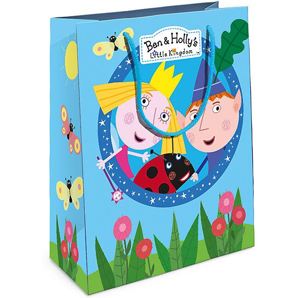 Подарочный пакет Росмэн Бен и ХоллиДетские подарочные пакеты<br>Подарочный бумажный пакет Бен и Холли декорирован ярким, стильным принтом. Размер: 23х18х10 см. Плотность бумаги: 128 г/м2.<br>Ширина мм: 230; Глубина мм: 180; Высота мм: 3; Вес г: 39; Возраст от месяцев: 36; Возраст до месяцев: 144; Пол: Унисекс; Возраст: Детский; SKU: 7175764;