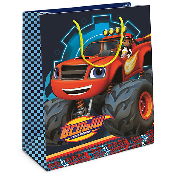 Подарочный пакет Росмэн ВспышНовинки для праздника<br>Подарочный бумажный пакет «Вспыш» ТМ «Blaze and the Monster Machines» декорирован ярким привлекательным принтом с главным героем мультфильма. Размер: 35х25х9 см.<br><br>Ширина мм: 350<br>Глубина мм: 250<br>Высота мм: 3<br>Вес г: 41<br>Возраст от месяцев: 36<br>Возраст до месяцев: 144<br>Пол: Мужской<br>Возраст: Детский<br>SKU: 7175773
