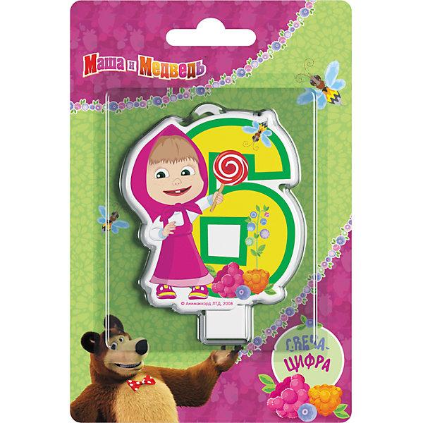 Свеча для торта Росмэн Маша и Медведь. Свеча-цифра 6Новинки для праздника<br>Фигурная свеча Цифра 1 ТМ Маша и Медведь имеет высоту 8 см. Изготовлено из стеарина. Упаковка - блистер.<br>Ширина мм: 150; Глубина мм: 100; Высота мм: 6; Вес г: 40; Возраст от месяцев: 36; Возраст до месяцев: 144; Пол: Унисекс; Возраст: Детский; SKU: 7175806;