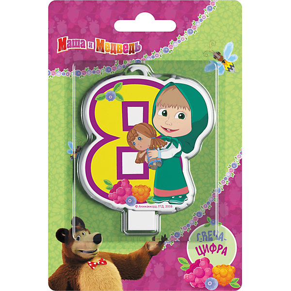 Свеча для торта Росмэн Маша и Медведь. Свеча-цифра 8Детские свечи для торта<br>Фигурная свеча Цифра 1 ТМ Маша и Медведь имеет высоту 8 см. Изготовлено из стеарина. Упаковка - блистер.<br><br>Ширина мм: 150<br>Глубина мм: 100<br>Высота мм: 6<br>Вес г: 40<br>Возраст от месяцев: 36<br>Возраст до месяцев: 144<br>Пол: Унисекс<br>Возраст: Детский<br>SKU: 7175813