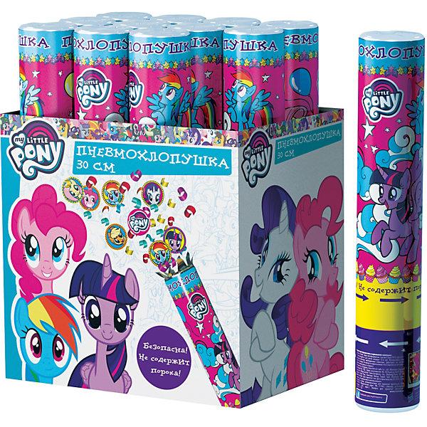 Пневмохлопушка Росмэн My little Pony, 30 смконфетти с героямиНовинки для праздника<br>Характеристики товара:<br><br>• возраст: от 12 лет<br>• комплект: 1 шт.<br>• материал: металл, картон, фольга.<br>• размер упаковки: 5х5x30 см.<br>• упаковка: картон коробка<br>• страна обладатель бренда: Россия.<br><br>Хлопушка «Мой маленький пони» высотой 30 см наполнена конфетти круглой формы с изображением героев мультфильма. Изделие представляет собой металлическую тубу с бумажным и фольгированным наполнением, не содержит пороха, действует на основе сжатого воздуха, безопасно при использовании по назначению. Товар сертифицирован.<br><br>Хлопушка «Мой маленький пони» можно купить в нашем интернет-магазине.<br><br>Ширина мм: 9999<br>Глубина мм: 50<br>Высота мм: 300<br>Вес г: 150<br>Возраст от месяцев: 144<br>Возраст до месяцев: 144<br>Пол: Женский<br>Возраст: Детский<br>SKU: 7175818