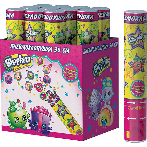 Пневмохлопушка Росмэн Shopkins, 30 см конфетти с героямиДетские хлопушки и бумфетти<br>Пневмохлопушка Шопкинс высотой 30 см наполнена фольгой и разноцветным круглым конфетти с героями мультфильма. Изделие представляет собой металлическую тубу с бумажным и фольгированным наполнением, не содержит пороха, действует на основе сжатого воздуха, безопасно при использовании по назначению. Товар сертифицирован.<br>Ширина мм: 50; Глубина мм: 50; Высота мм: 300; Вес г: 150; Возраст от месяцев: 144; Возраст до месяцев: 144; Пол: Женский; Возраст: Детский; SKU: 7175820;