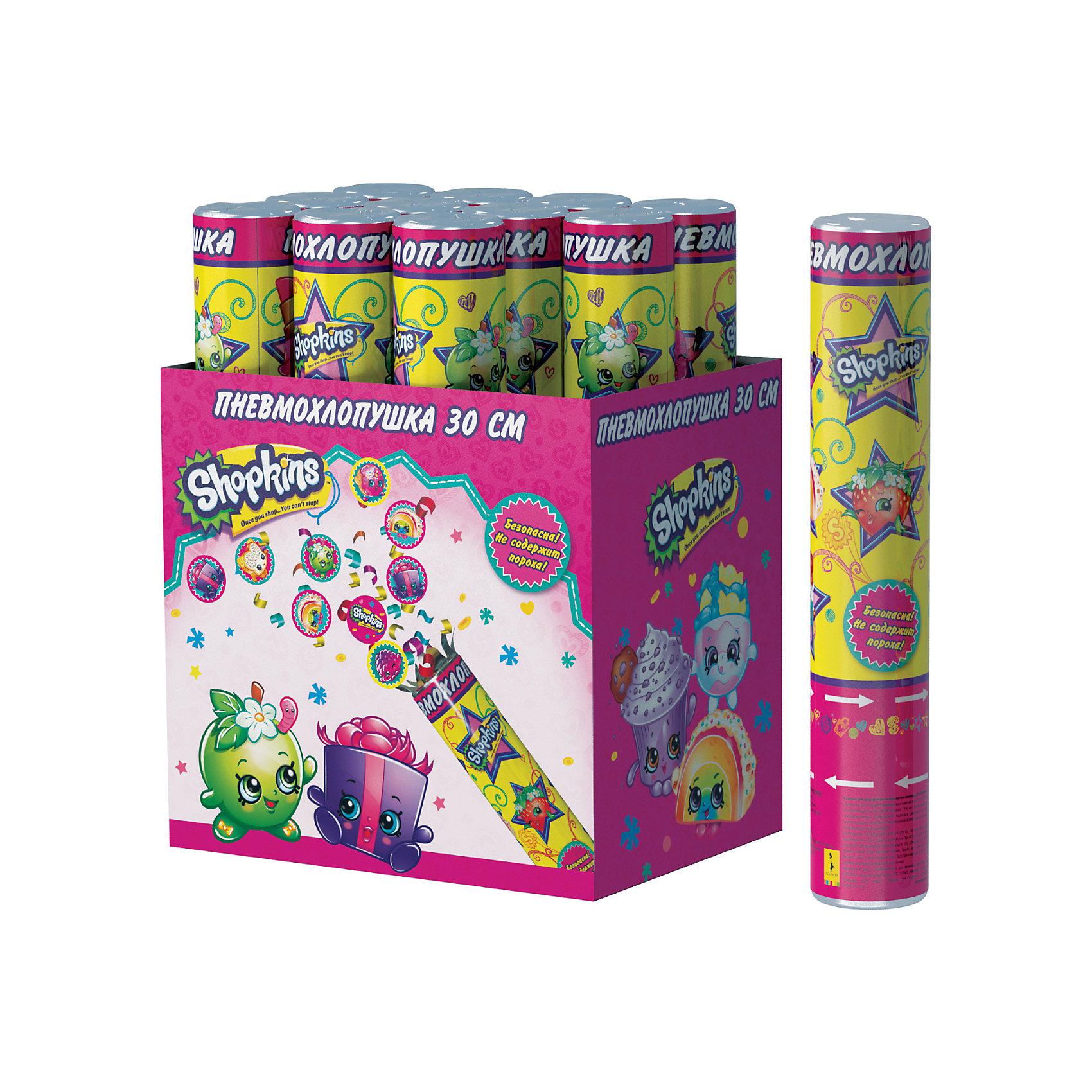 Пневмохлопушка Росмэн Shopkins, 30 см конфетти с героямиДетские хлопушки и бумфетти<br>Пневмохлопушка Шопкинс высотой 30 см наполнена фольгой и разноцветным круглым конфетти с героями мультфильма. Изделие представляет собой металлическую тубу с бумажным и фольгированным наполнением, не содержит пороха, действует на основе сжатого воздуха, безопасно при использовании по назначению. Товар сертифицирован.<br><br>Ширина мм: 9999<br>Глубина мм: 50<br>Высота мм: 300<br>Вес г: 150<br>Возраст от месяцев: 144<br>Возраст до месяцев: 144<br>Пол: Женский<br>Возраст: Детский<br>SKU: 7175820