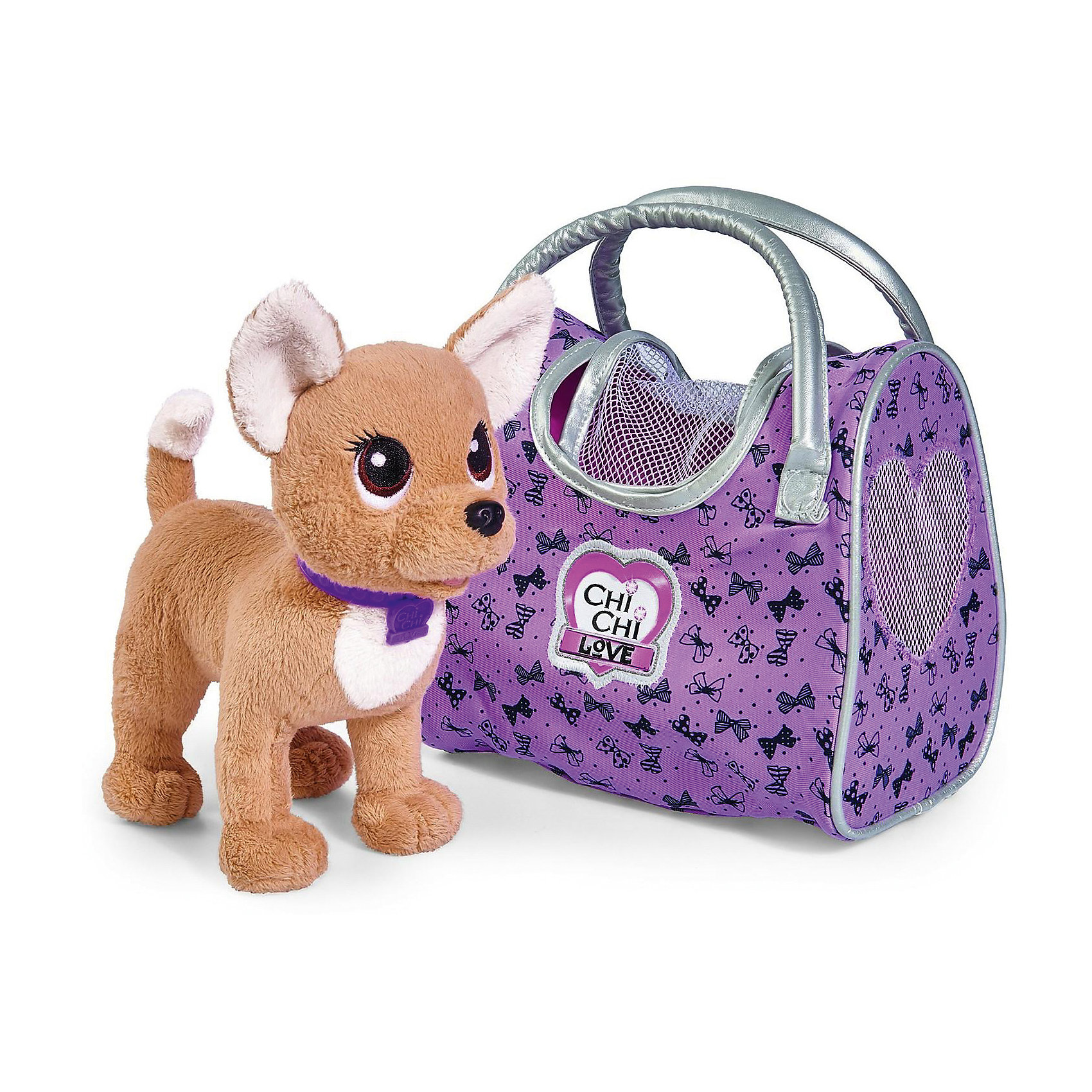 Мягкая игрушка Simba Chi Chi Love Собачка-путешественница с сумкой-переноской, 20 смМягкие игрушки-собаки<br>Комплект: плюшевая собачка с пластиковым ошейником, сумочка-переноска для собачки.Путешествовать - это так увлекательно, а с лучшим другом - это увлекательно вдвойне! С ним можно разделись радость открытий, узнать много нового, а затем весело вспоминать все прожитые приключения.    <br>Плюшевой собачке ChiChiLove не терпится скорей отправиться в путь! Она идеально подходит для долгих прогулок. Путешествовать собачка любит в своей красивой сумочке с принтом в виде тысячи бантиков. Сумку можно использовать и как отдельный аксессуар.<br>Чтобы не потеряться на собачке яркий ошейник с кулончиком в виде сердечка, где указано ее имя - ChiChiLove. Мягкая и пушистая ЧиЧиЛав станет любимицей своей хозяйки и с радостью разделит с ней все путешествия!<br>В комплект входит плюшевая собачка (20см.) с пластиковым ошейником, сумочка-переноска для собачки.<br><br>Ширина мм: 9999<br>Глубина мм: 9999<br>Высота мм: 9999<br>Вес г: 9999<br>Возраст от месяцев: 60<br>Возраст до месяцев: 108<br>Пол: Женский<br>Возраст: Детский<br>SKU: 7177201