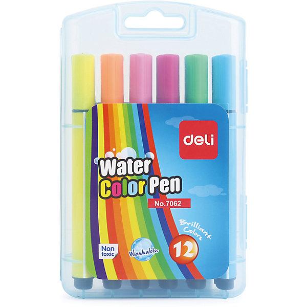 Фломастеры Deli круглый наконечник, 12 цветовФломастеры<br>Характеристики товара:<br><br>•  12 цветов <br>• твердый прозрачный футляр<br>• легко смываются водой<br>• трехгранный корпус<br>• толщина грифеля: 2 мм.<br><br>Фломастеры Deli 12цветов можно купить в нашем интернет-магазине.<br>Ширина мм: 170; Глубина мм: 110; Высота мм: 30; Вес г: 170; Возраст от месяцев: 36; Возраст до месяцев: 144; Пол: Унисекс; Возраст: Детский; SKU: 7179053;