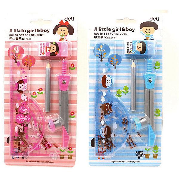 Чертежный набор Deli, циркуль, линейка 15 см, транспортир, 2 угольника, карандаш, ластикЧертежные принадлежности<br>Характеристики товара:<br><br>• цвет в ассортименте;<br>• материал: пластик, металл;<br>• в комплекте: циркуль пластиковый козья ножка с карандашом, линейка 15 см (шкала см и дюймы), треугольник с основанием 10 см (30/60/90 градусов), треугольник с основанием 8 см (45/90), транспортир 8 см, карандаш чернографитовый, ластик.<br><br>Комплект для черчения с линейками и циркулем можно купить в нашем интернет-магазине.<br><br>Ширина мм: 180<br>Глубина мм: 60<br>Высота мм: 10<br>Вес г: 90<br>Возраст от месяцев: 36<br>Возраст до месяцев: 144<br>Пол: Унисекс<br>Возраст: Детский<br>SKU: 7179071