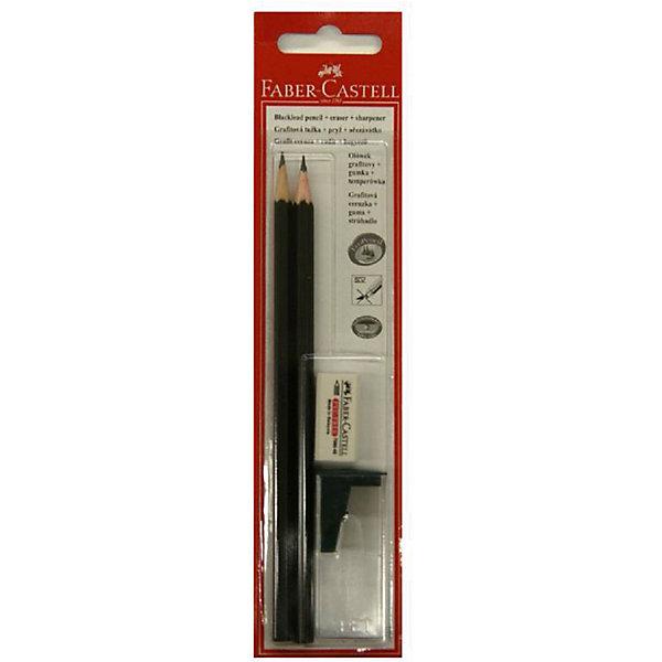 Карандаш чернографитный с ластиком + точилка Faber-Castell НВ, 2 штЧернографитные<br>Характеристики товара:<br><br>• цвет: черный;<br>• деревянный корпус;<br>• в комплекте 2 карандаша, точилка, ластик;<br>• мягкость:  НВ.<br><br>Карандаш чернографитовый 1111 НВ 2 шт + точилка и ластик можно купить в нашем интернет-магазине.<br>Ширина мм: 210; Глубина мм: 50; Высота мм: 10; Вес г: 10; Возраст от месяцев: 36; Возраст до месяцев: 144; Пол: Унисекс; Возраст: Детский; SKU: 7179084;