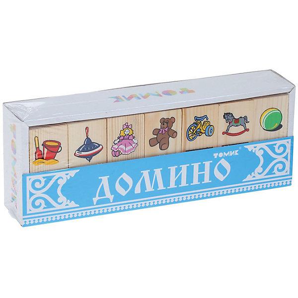 Деревянное домино Томик ИгрушкиСпортивные настольные игры<br>Характеристики товара:<br><br>• в комплекте: 28 деталей;<br>• возраст: от 2 лет;<br>• материал: древесина;<br>• размер фишки: 7х3х1 см;<br>• размер упаковки: 8х22х4 см;<br>• страна бренда: Россия.<br><br>Набор «Игрушки» - игра для малышей, построенная по принципу классического домино. На фишках изображены игрушки, знакомые каждому ребёнку: мишка, мячик, кукла, велосипед и другие. В процессе игры ребенку предстоит правильно подобрать фишку с нужным изображением.<br><br>Детали изготовлены из качественной хвойной древесины и окрашены безопасными, стойкими красками. Игра с домино способствует укреплению памяти, внимательности, мелкой моторики и логического мышления.<br><br>Игру Томик 5555-3 Домино «Игрушки» можно купить в нашем интернет-магазине.<br>Ширина мм: 225; Глубина мм: 80; Высота мм: 40; Вес г: 335; Возраст от месяцев: 36; Возраст до месяцев: 2147483647; Пол: Унисекс; Возраст: Детский; SKU: 7181114;
