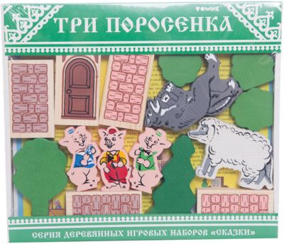Деревянный Конструктор Томик Сказки. Три Поросенка , 31 Деталь