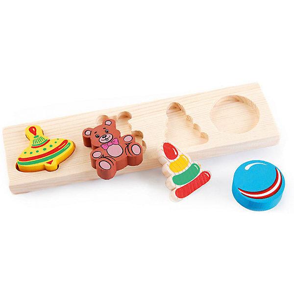 Деревянная рамка-вкладыш Томик ИгрушкиРазвивающие игрушки<br>Характеристики товара:<br><br>• в комплекте: рамка, 4 фигурки;<br>• возраст: от 1 года;<br>• материал: дерево;<br>• размер упаковки: 25х26х2 см;<br>• страна производства: Россия.<br><br>Рамка-вкладыш «Игрушки» - увлекательная развивающая игра для детей возрастом от 12 месяцев. Набор состоит из рамочки-основы и четырех фигурок, выполненных в виде игрушек. В рамочке есть выемки, соответствующие каждой из фигур. Малышу предстоит соотнести фигурку с выемкой и поставить ее на свое место.<br><br>Все детали изготовлены из качественной древесины, окрашены безопасной краской. Игра с данным набором хорошо развивает мелкую моторику, логическое мышление, координацию движений рук.<br><br>Рамку-вкладыш Томик 451 «Игрушки» можно купить в нашем интернет-магазине.<br>Ширина мм: 260; Глубина мм: 120; Высота мм: 250; Вес г: 194; Возраст от месяцев: 36; Возраст до месяцев: 2147483647; Пол: Унисекс; Возраст: Детский; SKU: 7181117;