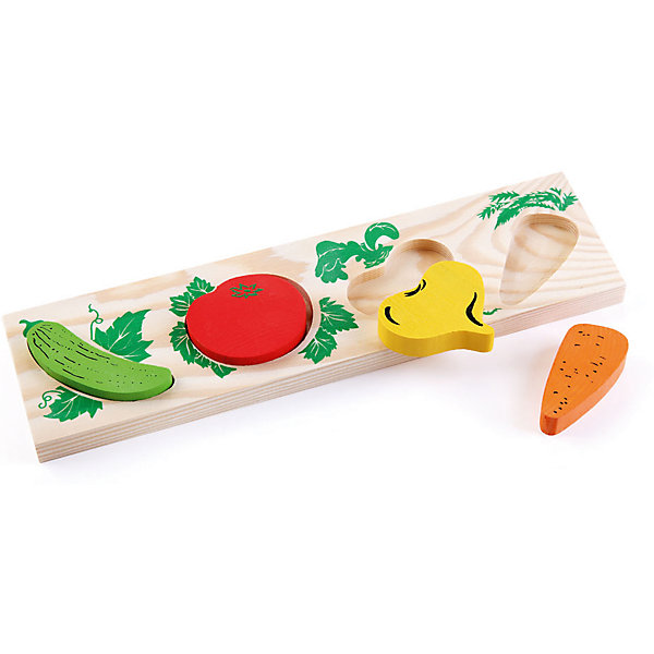 Деревянная рамка-вкладыш Томик ОвощиДеревянные игрушки<br>Характеристики товара:<br>• в комплекте: основа, 4 фигурки;<br>• возраст: от 1 года;<br>• размер упаковки: 26х12х2 см;<br>• материал: дерево;<br>• страна производства: Россия.<br><br>Рамка-вкладыш «Овощи» - игрушка, которая поможет развить мелкую моторику, внимательность и усидчивость малыша. Набор состоит из рамки-основы и четырех овощей: огурец, морковь, репа, помидор. Для каждого овоща есть отдельная выемка в рамочке. Малышу предстоит определить какая фигурка подойдет к выбранной выемке. Все детали изготовлены из качественной древесины и окрашены безопасными красками.<br><br>Рамку-вкладыш Томик 372-2 «Овощи» можно купить в нашем интернет-магазине.<br>Ширина мм: 300; Глубина мм: 130; Высота мм: 25; Вес г: 243; Возраст от месяцев: 36; Возраст до месяцев: 2147483647; Пол: Унисекс; Возраст: Детский; SKU: 7181124;