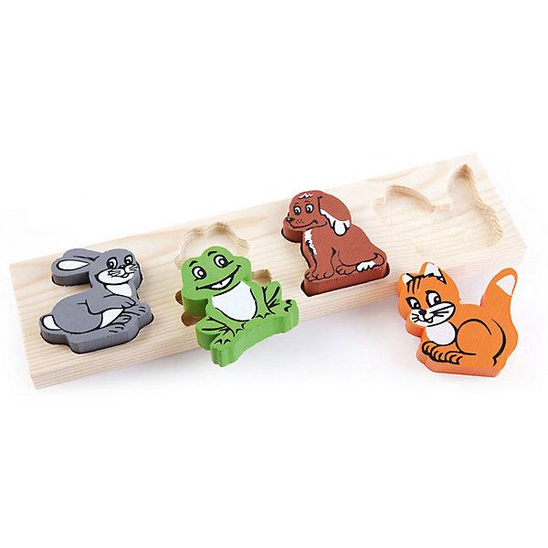Деревянная рамка-вкладыш Томик ЖивотныеДеревянные игрушки<br>Характеристики товара:<br>• в комплекте: основа, 4 фигурки;<br>• возраст: от 1 года;<br>• размер упаковки: 26х12х2 см;<br>• материал: дерево;<br>• страна производства: Россия.<br><br>Рамка-вкладыш «Животные», несомненно, надолго привлечет внимание малыша. Игрушка состоит из рамки-основы и четырех фигурок с изображением животных: заяц, белка, лягушка, собака. Ребенку необходимо соотнести выбранную фигурку с необходимой выемкой на рамке. Такая игра прекрасно развивает мелкую моторику, логическое мышление и координацию. Все детали изготовлены из натуральной древесины и окрашены нетоксичными красками.<br><br>Рамка-вкладыш Томик 451-1 «Животные» можно купить в нашем интернет-магазине.<br><br>Ширина мм: 260<br>Глубина мм: 120<br>Высота мм: 250<br>Вес г: 206<br>Возраст от месяцев: 36<br>Возраст до месяцев: 2147483647<br>Пол: Унисекс<br>Возраст: Детский<br>SKU: 7181125