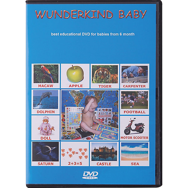 Развивающий DVD-диск Вундеркинд с пелёнок Английский языкАудиокниги, DVD и CD<br>Характеристики:<br><br>• ISBN: 4612731630027;<br>• бренд: Вундеркинд с пеленок;<br>• вес: 10 гр;<br>• размер: 19x1,35x1 см; • материал: картон;<br>• возраст: от 6 лет;<br>• продолжительность: 185 мин;<br>• размер кадра: 4:3;<br>• звук: Dolby digital, stereo.<br><br>DVD «Wunderkind baby» на английском языке - это двести озвученных презентаций, которые озвучены носителями британского английского языка. Подойдут детям от шести лет. Презентации на любые темы, содержат в себе различные подтемы и подразделы.<br><br>Презентации «Вундеркинд Бэйби» разработаны с учетом принципов и методик раннего развития Домана, Монтессори и других авторов. Для вашего малыша просмотр красочных картинок превратится в любимое занятие и даст ему энциклопедические знания об окружающем его мире, позволит с пеленок освоить азы чтения и счета на английском языке.<br><br>Презентации помогут развить интеллект ребенка и сформировать у него фотографическую память. Даже взрослым будет интересен просмотр презентаций, они так же найдут здесь много полезного и познавательного для себя. Малышу обязательно придутся по душе живые звуки природы и музыкальных инструментов: рычание льва и пение птиц, шум водопада и звучание скрипки.<br><br>Каждый раздел разбит еще на разнообразные подтемы, к примеру, в разделе картины - 35 презентаций различных мастеров русской и мировой живописи.<br>DVD «Wunderkind baby» можно купить в нашем интернет-магазине.<br><br>Ширина мм: 190<br>Глубина мм: 135<br>Высота мм: 10<br>Вес г: 10<br>Возраст от месяцев: 6<br>Возраст до месяцев: 36<br>Пол: Унисекс<br>Возраст: Детский<br>SKU: 7182283