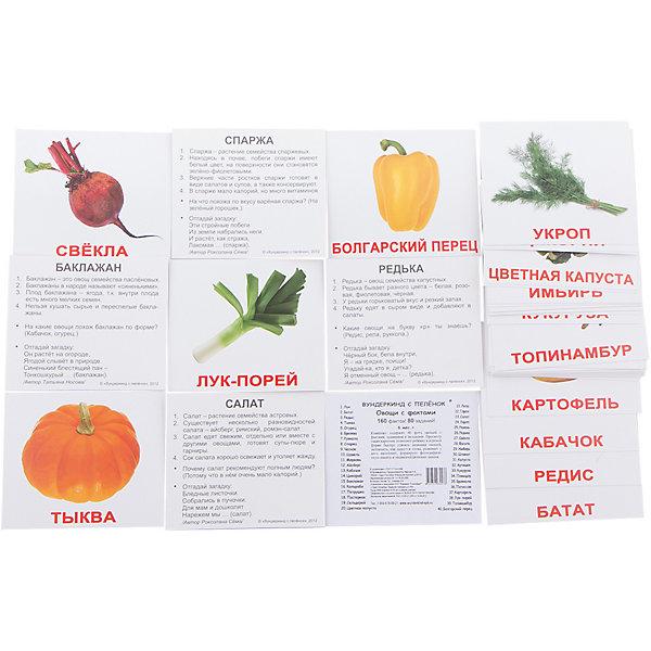 Набор обучающих мини-карточек Вундеркинд с пелёнок Овощи 40 штукОбучающие карточки<br>Набор содержит 40 двухсторонних карточек с подписями на русском языке. На одной стороне карточек изображены овощи, а на другой стороне — факты, задания и загадки.<br>В набор вошли: Лук, Репа, Батат, Горох, Редис, Салат, Тыква, Укроп, Огурец, Свёкла, Брюква, Имбирь, Ревень, Редька, Спаржа, Фасоль, Чеснок, Шпинат, Щавель, Помидор, Морковь, Капуста, Айсберг, Артишок, Кабачок, Руккола, Цикорий, Брокколи, Баклажан, Патиссон, Кольраби, Кукуруза, Петрушка, Картофель, Пастернак, Лук-порей, Сельдерей, Топинамбур, Цветная капуста, Болгарский перец<br><br>Ширина мм: 100<br>Глубина мм: 85<br>Высота мм: 15<br>Вес г: 80<br>Возраст от месяцев: 12<br>Возраст до месяцев: 60<br>Пол: Унисекс<br>Возраст: Детский<br>SKU: 7182331