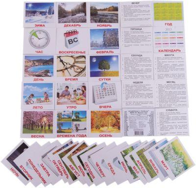 Набор обучающих мини-карточек Вундеркинд с пелёнок Времена года 40 штук