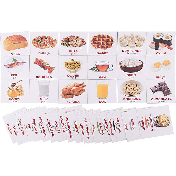 Набор обучающих мини-карточек Вундеркинд с пелёнок Food/Еда, двухсторонний 40 штукОбучающие карточки<br>Характеристики:<br><br>• ISBN: 4612731630935;<br>• бренд: Вундеркинд с пеленок;<br>• вес: 80 гр;<br>• материал: картон;<br>• размер: 10x8,5x1,5 см;<br>• возраст: от 3 лет;<br>• количество карточек: 40 шт.<br><br>Комплект карточек МИНИ «Food/Еда» представляет из себя двухсторонний набор с карточками, на которых размещены изображения продуктов и блюд, с подписями на русском и английском языках. <br><br>Поучительные карточки развивают память, внимание, усидчивость и другие полезные навыки. Набор подходит для детей от 3 лет. Благодаря этим карточкам у  ребенка происходит развитие различных отделов головного мозга, формируется фотографическая память, он развивается гораздо быстрее сверстников. Кроме того, малыш с раннего детства изучает иностранные языки.<br><br>В набор карточек входят слова: 1. Tea - Чай 2. Rice - Рис 3. Fish - Рыба 4. Juice - Сок 5. Pie - Пирог 6. Cheese - Сыр 7. Sushi - Суши 8. Curd - Творог 9. Milk - Молоко 10. Salad - Салат 11. Butter - Масло 12. Waffle - Вафля 13. Chicken - Курица 14. Pasta - Спагетти 15. Hot dog - Хот дог 16. Popcorn - Попкорн 17. Potato - Картофель 18. Chocolate - Шоколад 19. Sandwich - Бутерброд 20. Porridge - Овсяная каша 21. Egg - Яйцо 22. Soup - Суп 23. Honey - Мёд 24. Meat - Мясо 25. Bread -  Хлеб 26. Nuts - Орехи 27. Steak - Стейк 28. Pizza - Пицца 29. Coffee - Кофе 30. Jam - Варенье 31. Olives - Оливки 32. Candy - Конфета 33. Pancakes - Блины 34. Cookies - Печенье 35. Shrimp - Креветка 36. Mushrooms - Грибы 37. Sausages - Сосиски 38. Dumplings - Пельмени 39. Ice-cream -  Мороженое 40. Red caviar - Красная икра.<br><br>Комплект карточек МИНИ «Food/Еда» можно купить в нашем интернет-магазине.<br>Ширина мм: 100; Глубина мм: 85; Высота мм: 15; Вес г: 80; Возраст от месяцев: 36; Возраст до месяцев: 84; Пол: Унисекс; Возраст: Детский; SKU: 7182343;