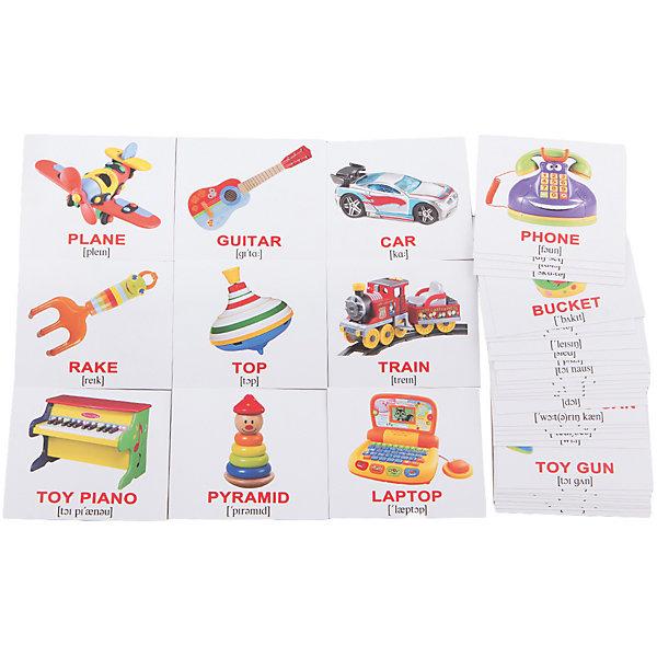 Набор обучающих мини-карточек Вундеркинд с пелёнок Toys/Игрушки, двухсторонний 40 штукОбучающие карточки<br>Характеристики:<br><br>• ISBN: 4612731630997;<br>• бренд: Вундеркинд с пеленок;<br>• вес: 80 гр;<br>• материал: картон;<br>• размер: 10x8,5x1,5 см;<br>• возраст: от 1 года;<br>• количество карточек: 40 шт.<br><br>Комплект карточек МИНИ-рус. яз. «Toys/Игрушки» представляет из себя двухсторонний набор карточек с изображениями игрушек, с подписями на английском языке. На обороте - те же картинки с подписями на русском языке.<br><br>Поучительные карточки развивают память, внимание, усидчивость и другие полезные навыки. Набор подходит для детей от 1 года. Благодаря этим карточкам у  ребенка происходит развитие различных отделов головного мозга, формируется фотографическая память, он развивается гораздо быстрее сверстников. Кроме того, малыш с раннего детства изучает иностранные языки.<br><br>В набор карточек входят слова: 1. Top - Юла 2. Ball - Мячик 3. Doll - Кукла 4. Sled - Санки 5. Train - Поезд 6. Car - Машинка 7. Drum - Барабан 8. Blocks - Кубики 9. Boat - Кораблик 10. Plane - Самолёт 11. Truck - Грузовик 12. Lacing - Шнуровка 13. Dominoes - Домино 14. Dish set - Посудка 15. Toy kitchen - Кухня 16. Teddy bear - Мишка 17. Toy piano - Пианино 18. Rattle - Погремушка 19. Tumbler - Неваляшка 20. Pyramid - Пирамидка 21. Phone - Телефон 22. Wheel - Руль 23. Puzzle - Пазл 24. Robot - Робот 25. Rake - Грабли 26. Paints - Краски 27. Guitar - Гитара 28. Sorter - Сортер 29. Spade - Лопатка 30. Bucket - Ведёрко 31. Scooter - Самокат 32. Toy house - Домик 33. Toy gun - Пистолет 34. Laptop - Ноутбук 35. Tools - Инструменты 36. Watering can - Лейка 37. Helicopter - Вертолёт 38. Toy soldier - Солдатик 39. Roller skates - Ролики 40. Construction set - Конструктор<br> Комплект карточек МИНИ-рус. яз. «Toys/Игрушки» можно купить в нашем интернет-магазине.<br><br>Ширина мм: 100<br>Глубина мм: 85<br>Высота мм: 15<br>Вес г: 80<br>Возраст от месяцев: 12<br>Возраст до месяцев: 60<br>П