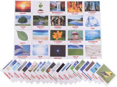 Набор обучающих мини-карточек Вундеркинд с пелёнок Nature/Природа , двухсторонний 40 штук