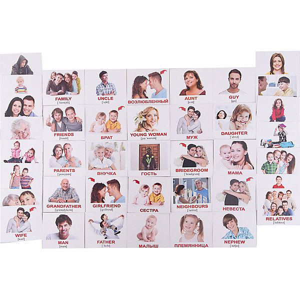 Набор обучающих мини-карточек Вундеркинд с пелёнок Family/Семья, двухсторонний 40 штукОбучающие карточки<br>Характеристики:<br><br>• ISBN: 4612731631208;<br>• бренд: Вундеркинд с пеленок;<br>• вес: 80 гр;<br>• материал: картон;<br>• размер: 10x8,5x1,5 см;<br>• возраст: от 1 года;<br>• количество карточек: 40 шт.<br><br>Комплект карточек МИНИ-рус. яз. «Family/Семья» представляет из себя двухсторонний набор карточек с изображениями членов семьи, с подписями на английском языках. Малыш сможет легко выучить главных родственников на двух языках.<br><br>Поучительные карточки развивают память, внимание, усидчивость и другие полезные навыки. Набор подходит для детей от 1 года. Благодаря этим карточкам у  ребенка происходит развитие различных отделов головного мозга, формируется фотографическая память, он развивается гораздо быстрее сверстников. Кроме того, малыш с раннего детства изучает иностранные языки.<br><br>В набор карточек входят слова: 1. Son - Сын 2. Wife - Жена 3. Aunt - Тётя 4. Baby - Малыш 5. Husband - Муж 6. Uncle - Дядя 7. Guy - Парень 8. Guest - Гость 9. Mother - Мама 10. Father - Папа 11. Boy - Мальчик 12. Man - Мужчина 13. Couple - Пара 14. Brother - Брат 15. Family - Семья 16. Girl - Девочка 17. Woman - Женщина 18. Bride - Невеста 19. Daughter - Дочь 20. Grandson - Внук 21. Child - Ребёнок 22. Children - Дети 23. Sister - Сестра 24. Friends - Друзья 25. Twins - Близнецы 26. Niece - Племянница 27. Parents - Родители 28. Nephew - Племянник 29. Bridegroom - Жених 30. Teenager - Подросток 31. Neighbours - Соседи 32. Grandfather - Дедушка 33. Young woman - Девушка 34. Grandmother - Бабушка 35. Granddaughter - Внучка 36. Girlfriend - Возлюбленная 37. Boyfriend - Возлюбленный 38. Classmate - Одноклассник 39. Relatives - Родственники 40. Cousins - Двоюродные сестра и брат.<br><br> Комплект карточек МИНИ-рус. яз. «Family/Семья» можно купить в нашем интернет-магазине.<br>Ширина мм: 100; Глубина мм: 85; Высота мм: 15; Вес г: 80; Возраст от месяцев: 12; Возраст до мес