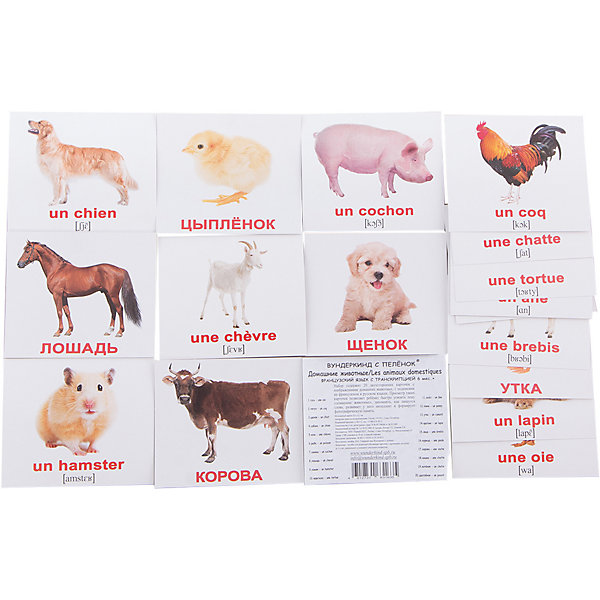 Набор обучающих мини-карточек Вундеркинд с пелёнок Les animaux domestiques/Домашние животные, двухсторонний 20 штукОбучающие карточки<br>Характеристики:<br><br>• ISBN: 4612731631635;<br>• бренд: Вундеркинд с пеленок;<br>• вес: 50 гр;<br>• материал: картон;<br>• размер: 10x8,5x5 см;<br>• возраст: от 1 года;<br>• количество карточек: 20 шт.<br><br>Комплект карточек «Мини-20 Les animaux domestiques/Домашние животные» представляет из себя двухсторонний набор с подписями на русском и французском языках с транскрипцией. Такие занятия помогут ребенку ознакомиться с иностранным языком и выучить новые слова. <br><br>Поучительные карточки развивают память, внимание, усидчивость и другие полезные навыки. Набор подходит для детей от 1 года. Благодаря этим карточкам у  ребенка происходит развитие различных отделов головного мозга, формируется фотографическая память, он развивается гораздо быстрее сверстников. Кроме того, малыш с раннего детства изучает иностранные языки.<br><br>В набор входят слова: 11. Осел - un ?ne 2. Гусь - une Oie 3. Петух - un Coq 4. Пони - un Poney 5. Щенок - un Chiot 6. Утка - un Canard 7. Собака - un Chien 8. Коза - une Ch?vre 9. Рыба - un Poisson 10. Кролик - un Lapin 11. Овца - une Brebis 12. Свинья - un Cochon 13. Лошадь - un Cheval 14. Хомяк - un Hamster 15. Курица - une Poule 16. Корова - une Vache 17. Кошка - une Chatte 18. Котёнок - un Chaton 19. Черепаха - une Tortue 20. Цыплёнок - un Poussin. С одной стороны написаны слова на французском, а с другой стороны есть перевод. Также написана понятная транскрипция. <br><br> Комплект карточек «Мини-20 Les animaux domestiques/Домашние животные» можно купить в нашем интернет-магазине.<br>Ширина мм: 100; Глубина мм: 85; Высота мм: 5; Вес г: 50; Возраст от месяцев: 12; Возраст до месяцев: 60; Пол: Унисекс; Возраст: Детский; SKU: 7182369;
