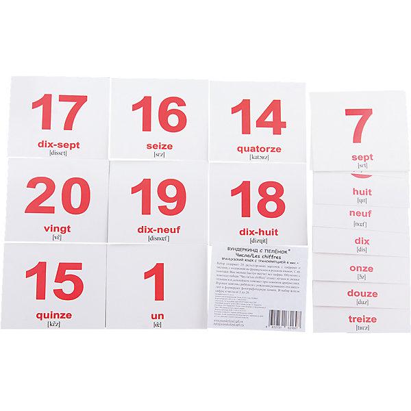 Набор обучающих мини-карточек Вундеркинд с пелёнок Les nombres/Числа, двухсторонний 20 штукОбучающие карточки<br>Набор содержит 20 двухсторонних карточек с подписями на русском и французском языках с транскрипцией.<br>В набор вошли: 1. Один - Un 2. Два - Deux 3. Три - Trois 4. Четыре - Quatre 5. Пять - Cinq 6. Шесть - Six  7. Семь - Sept 8. Восемь - Huit 9. Девять - Neuf 10. Десять - Dix 11. Одиннадцать - Onze 12. Двенадцать - Douze 13. Тринадцать - Treize 14. Четырнадцать - Quatorze 15. Пятнадцать - Quinze 16. Шестнадцать - Seize 17. Семнадцать - Dix-sept 18. Восемнадцать - Dix-huit 19. Девятнадцать - Dix-neuf 20. Двадцать - Vingt<br><br>Ширина мм: 100<br>Глубина мм: 85<br>Высота мм: 5<br>Вес г: 50<br>Возраст от месяцев: 36<br>Возраст до месяцев: 84<br>Пол: Унисекс<br>Возраст: Детский<br>SKU: 7182376
