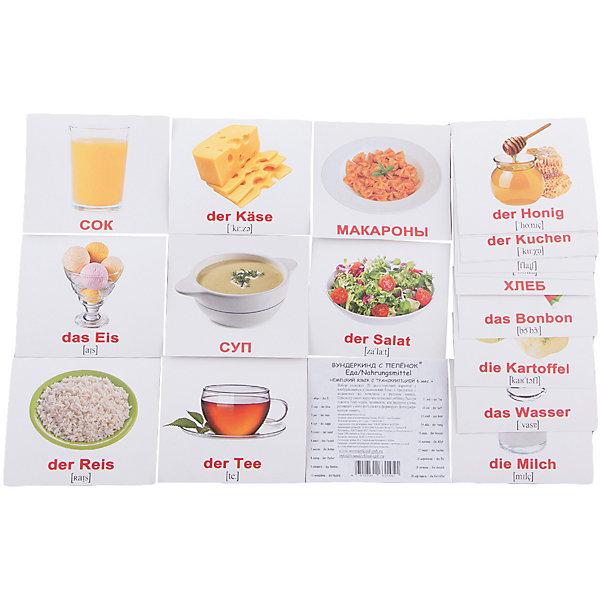 Набор обучающих мини-карточек Вундеркинд с пелёнок Nahrungsmittel/Еда, двухсторонний 20 штукОбучающие карточки<br>Характеристики:<br><br>• ISBN: 4612731631451;<br>• бренд: Вундеркинд с пеленок;<br>• вес: 50 гр;<br>• материал: картон;<br>• размер: 10x8,5x5 см;<br>• возраст: от 3 лет;<br>• количество карточек: 20 шт. <br><br>Комплект карточек «Мини-20 немецкие карточки Nahrungsmittel/Еда» представляет из себя двухсторонний набор с подписями на русском и на немецком языках с транскрипцией. Такие занятия помогут ребенку ознакомиться с иностранным языком и выучить новые слова, в том числе запомнить названия продуктов на немецком. <br><br>Поучительные карточки развивают память, внимание, усидчивость и другие полезные навыки. Набор подходит для детей от 3 лет. Благодаря этим карточкам у  ребенка происходит развитие различных отделов головного мозга, формируется фотографическая память, он развивается гораздо быстрее сверстников. Кроме того, малыш с раннего детства изучает иностранные языки.<br><br>В набор входят слова: 1. Яйцо - das Ei 2. Чай - der Tee 3. Сок - der Saft 4. Рис - der Reis 5. Хлеб - das Brot 6. Сыр - der K?se 7. Суп - die Suppe 8. Мёд - der Honig 9. Салат - der Salat 10. Вода - das Wasser 11. Мясо - das Fleisch 12. Молоко - die Milch 13. Масло - die Butter 14. Пирог - der Kuchen 15. Сахар - der Zucker 16. Мороженое - das Eis 17. Конфета - das Bonbon 18. Печенье - das Geb?ck 19. Макароны - die Nudeln 20. Картофель - die Kartoffel. С одной стороны написаны слова на немецком, а с другой стороны есть перевод. Также написана понятная транскрипция. <br><br> Комплект карточек «Мини-20 немецкие карточки Nahrungsmittel/Еда» можно купить в нашем интернет-магазине.<br><br>Ширина мм: 100<br>Глубина мм: 85<br>Высота мм: 5<br>Вес г: 50<br>Возраст от месяцев: 36<br>Возраст до месяцев: 84<br>Пол: Унисекс<br>Возраст: Детский<br>SKU: 7182383