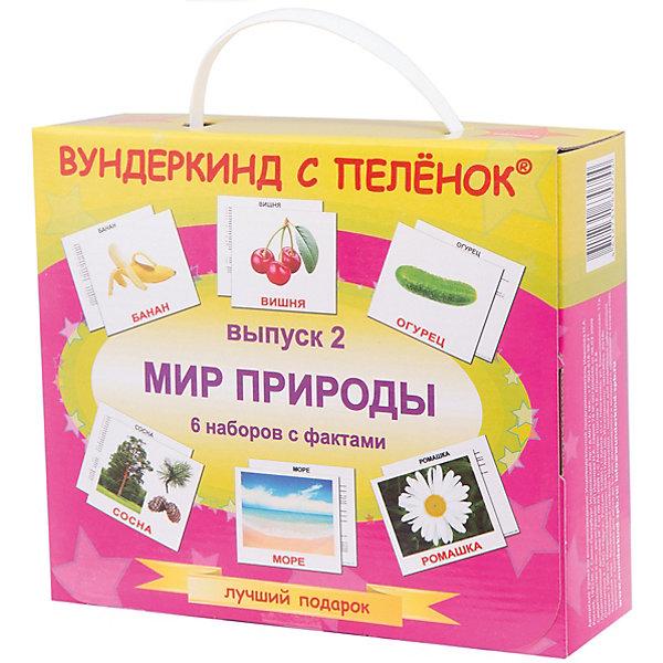 Подарочный набор обучающих карточек Вундеркинд с пелёнок Мир природы, выпуск 2Обучающие карточки<br>Характеристики:<br><br>• ISBN: 4612731630744;<br>• бренд: Вундеркинд с пеленок;<br>• вес: 1,116 кг;<br>• материал: картон;<br>• размер: 21x17,5x6 см;<br>• возраст: от 3 мес.;<br>• количество карточек: по 20 в 6 наборах.<br><br>Подарочный набор «Мир природы» ПН Выпуск 2  представляет из себя большой набор, который подойдет для  детей от трех месяцев. Комплект включает в себя шесть наборов карточек по 20 штук в каждом. Множество карточек включают в себя фотографии и изображения различной природы для обучения ребенка с самого маленького возраста. Все карточки выполнены на качественном мелованном картоне, имеют яркие картинки и понятные надписи. Набор можно брать частями в дорогу, чтобы с пользой развлекать малыша. <br><br>На обратной стороне карточек расположены загадки, интересные факты о животных и задания для повторения пройденного. В наборе есть карточки с такими изображениями: ягоды, деревья, цветы, фрукты, овощи, природа. <br><br>Подарочный набор «Мир природы» ПН Выпуск 2 можно купить в нашем интернет-магазине.<br>Ширина мм: 210; Глубина мм: 175; Высота мм: 60; Вес г: 1160; Возраст от месяцев: 3; Возраст до месяцев: 7; Пол: Унисекс; Возраст: Детский; SKU: 7182398;