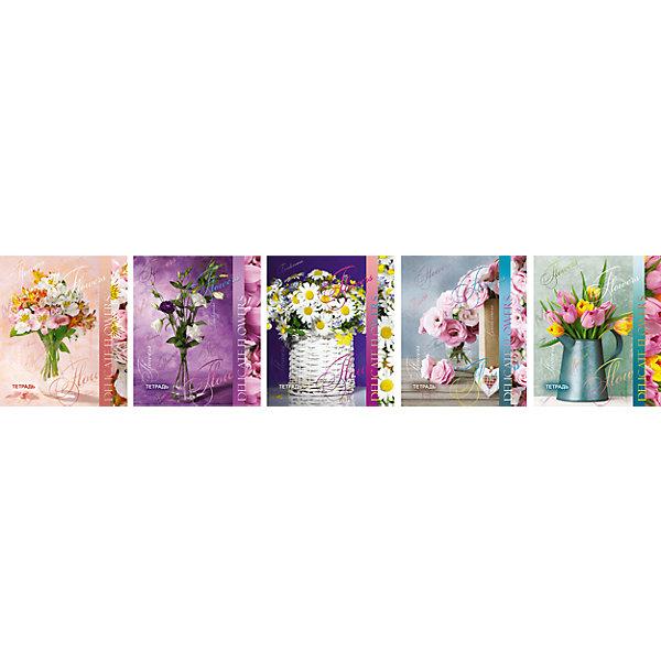 Комплект тетрадей в клетку АппликА Цветы 5 шт, 48 листов с полямиБумажная продукция<br>Характеристики товара:<br><br>• количество тетрадей: 5;<br>• количество листов: 48;<br>• формат: А5;<br>• возраст: от 3 лет;<br>• материал: бумага, офсет;<br>• обложка: мелованный картон;<br>• размер упаковки:18,3х20,2х2 см;<br>• страна-производитель: Россия.<br><br>Комплект тетрадей «Ассорти Цветы» - отличный вариант для школы и дополнительных занятий. В набор входят пять общих тетрадей по 48 листов. Плотная обложка из мелованного картона защитит содержимое тетради от намокания. На обложках изображены прекрасные букеты, дополненные УФ лаком, который подчеркивает неповторимый дизайн автора. Листы тетради выполнены из офсетной бумаги, разлинованы в классическую голубую клетку. По краям страниц есть красные поля.<br><br>Комплект общих тетрадей в клетку из 5шт., Ассорти Цветы  - 48 листов формата А5 с полями, КТС-ПРО можно купить в нашем интернет-магазине.<br><br>Ширина мм: 202<br>Глубина мм: 183<br>Высота мм: 20<br>Вес г: 565<br>Возраст от месяцев: 36<br>Возраст до месяцев: 1188<br>Пол: Женский<br>Возраст: Детский<br>SKU: 7185405
