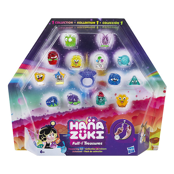 Игровой набор Hasbro Hanazuki Набор сокровищ с кольцомКоллекционные фигурки<br>Характеристики товара:<br><br>• возраст: от 6 лет;<br>• материал: пластик;<br>• в комплекте: кольцо, 14 фигурок сокровищ;<br>• размер упаковки: 29,2х25,4х4,1 см;<br>• вес упаковки: 54 гр.;<br>• страна производитель: Китай.<br><br>Набор сокровищ с кольцом Hasbro создан по мотивам мультсериала про девочку Ханазуки, которая родилась на луне и должна спасти ее от темных сил. Помогают ей ее друзья. В набор входит колечко для девочки и фигурки забавных сокровищ в виде пироженки, сладостей, животных. Благодаря креплению на колечке фигурку можно закрепить на нем, создавая каждый раз новый образ или подбирая под определенный наряд. На каждом сокровище есть код, отсканировав который в мобильном приложении, можно разблокировать новые предметы.<br><br>Набор сокровищ с кольцом Hasbro можно приобрести в нашем интернет-магазине.<br>Ширина мм: 41; Глубина мм: 292; Высота мм: 254; Вес г: 54; Возраст от месяцев: 72; Возраст до месяцев: 2147483647; Пол: Женский; Возраст: Детский; SKU: 7185989;