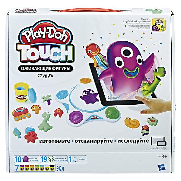 Набор пластилина Hasbro Play-Doh Оживающие фигуры. СтудияНаборы для лепки игровые<br>Характеристики товара:<br><br>• возраст: от 3 лет;<br>• материал: пластик;<br>• в комплекте: студия, 10 штампов, 4 инструмента, 15 формочек, 7 баночек пластилина;<br>• размер упаковки: 33х33х6,4 см;<br>• вес упаковки: 1,043 кг;<br>• страна производитель: Китай.<br><br>Игровой набор Play-Doh Touch «Оживающие фигуры» - не просто набор для лепки фигурок из пластилина, а целая студия, которая позволит оживить готовые фигурки при помощи приложения. Для начала нужно придумать своих персонажей, вылепить их из пластилина и поместить их на подготовленную студию. А затем при помощи приложения отсканировать ее, и персонаж окажется в новом мире.  <br><br>Пластилин Play-Doh выполнен из натуральных компонентов и безопасен для ребенка. Он хорошо разминается, не прилипает к рукам, не пачкает одежду. Набор способствует развитию творческих способностей, усидчивости, мелкой моторики рук.<br><br>Игровой набор Play-Doh Touch «Оживающие фигуры» можно приобрести в нашем интернет-магазине.<br>Ширина мм: 64; Глубина мм: 330; Высота мм: 330; Вес г: 1043; Возраст от месяцев: 36; Возраст до месяцев: 2147483647; Пол: Унисекс; Возраст: Детский; SKU: 7186007;