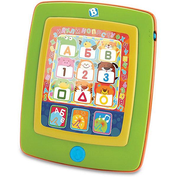 Развивающий планшет Bkids АБВДетские гаджеты<br>Характеристики:<br><br>• интерактивный планшет для малышей;<br>• 3 режима игры: алфавит, мелодии, игры;<br>• кнопки легко нажимаются;<br>• звуковое сопровождение;<br>• тип батареек: 3 шт. типа ААА;<br>• батарейки в комплекте;<br>• материал: пластик;<br>• размер упаковки: 26х20х5 см.<br><br>Планшет «АБВ» от B kids – это современная игрушка для самых маленьких, которая развивает устную и письменную речь, понятийный аппарат и музыкальный слух.<br><br>В планшете есть три режима игры:<br><br>• Learning Time – изучение букв русского алфавита, цифр, форм и звуков животных; <br>• Music Play – проигрывание нот и мелодий;<br>• Game Fun – игры на развитие моторики и координации движений.<br><br>Развивающий планшет Bkids АБВ можно купить в нашем интернет-магазине.<br>Ширина мм: 254; Глубина мм: 203; Высота мм: 51; Вес г: 2320; Возраст от месяцев: 6; Возраст до месяцев: 24; Пол: Унисекс; Возраст: Детский; SKU: 7186170;