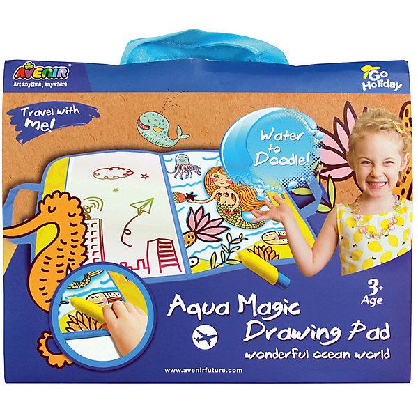 Доска для рисования водой Avenir Удивительный мир океанаКоврики и доски для рисования<br>Характеристики товара:<br><br>• возраст: от 3 лет;<br>• в наборе основа для рисования и ручка для рисования водой;<br>• размер упаковки: 24х30,4х1,5 см;<br>• производитель: Choice Perfect intl. ltd,;<br>• бренд: Avenir;<br>• страна изготовитель: Китай.                                                                                                                 <br>С этим набором ребенок не рискует испачкаться красками. Ведь все, что ему понадобится для творческого процесса, это вода. Заправляем специальную ручку водой и вперед. <br><br>При соприкосновении с водой на поверхности для рисования начинают появляться красочные картинки. С одной стороны поверхности изображена картинка для раскрашивания Удивительный мир океана, а другая сторона предназначена для самостоятельно рисования. <br><br>Очень удобно брать с собой в путешествие. Например, будет чем занять ребенка в поездке.<br><br>Волшебную доску для рисования водой Удивительный мир океана можно купить в нашем интернет-магазине.<br><br>Ширина мм: 240<br>Глубина мм: 304<br>Высота мм: 15<br>Вес г: 200<br>Возраст от месяцев: 36<br>Возраст до месяцев: 2147483647<br>Пол: Унисекс<br>Возраст: Детский<br>SKU: 7187844