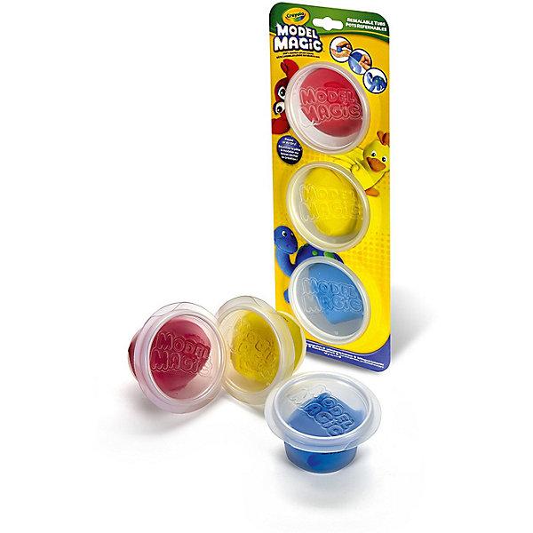 Волшебный пластилин Crayola, 3 цвета в баночкахМасса для лепки<br>Характеристики товара:<br><br>• возраст: от 4 лет;<br>• упаковка: картон;<br>• комплект - 3 баночки с пластилином;<br>• размеры упаковки - 19х24х5 см.;<br>• вес упаковки: 240 гр.; <br>• материал: пластик;<br>• бренд: Crayola (Крайола);<br>• страна-производитель: США.<br><br>Застывающий пластилин «Model Magic» состоит из 3 баночек волшебного пластилина для лепки разного цвета от американского производителя Crayola. <br><br>Увлекательный набор станет отличным подарком для мальчиков и девочек старше 4 лет. Ребята смогут слепить множество фигур, пластилин имеет приятный запах, не прилипает к рукам и великолепно лепится. Данный набор поможет детям развить творческие навыки и сделать множество пластилиновых украшений.  <br><br>Игры с пластилином способствуют развитию мелкой моторики, координации движений, усидчивости, воображения и множеству других полезных навыков. <br><br>Товары для творчества от американского производителя Crayola изготовлены из безопасных для здоровья ребенка материалов, прошедших соответствие европейским стандартам качества. <br><br>Застывающий пластилин «Model Magic», 3 баночки, Crayola (Крайола) можно купить в нашем интернет-магазине.<br>Ширина мм: 60; Глубина мм: 130; Высота мм: 350; Вес г: 240; Возраст от месяцев: 48; Возраст до месяцев: 2147483647; Пол: Унисекс; Возраст: Детский; SKU: 7187847;
