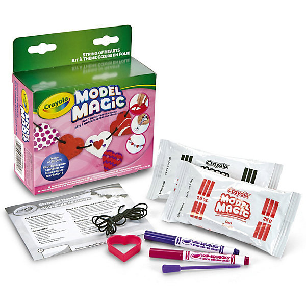 Набор волшебного пластилина Crayola Бусы из сердечекНаборы для лепки<br>Характеристики товара:<br><br>• возраст: от 4 лет;<br>• упаковка: картонная коробка;<br>• комплект - пластилин, формочка, 2 маркера, палочка, шнурок.;<br>• размеры упаковки - 15х14,5х5 см.;<br>• вес упаковки: 100 гр.; <br>• материал: пластилин, пластик, текстиль;<br>• бренд: Crayola (Крайола);<br>• страна-производитель: США.<br><br>Набор для лепки «Бусы из сердечек» от американского производителя Crayola поможет сделать уникальные и неповторимые бусы в форме сердечек, а также проявить свою фантазию при работе с пластилином.<br><br>Увлекательный набор станет отличным подарком для девочек старше 4 лет. В комплекте представлена компактная пластиковая формочка-сердечко, два упакованных бруска быстро застывающего пластилина, стек, шнурок и маркеры, с помощью которых можно будет украсить получившиеся бусины. Такой аксессуар станет прекрасным украшением и подойдет как к торжественному наряду, так и к повседневному.<br><br>Игры с пластилином способствуют развитию мелкой моторики, координации движений, усидчивости, воображения и множеству других полезных навыков. <br><br>Товары для творчества от американского производителя Crayola изготовлены из безопасных для здоровья ребенка материалов, прошедших соответствие европейским стандартам качества. <br><br>Набор для лепки «Бусы из сердечек» Crayola (Крайола) можно купить в нашем интернет-магазине.<br>Ширина мм: 50; Глубина мм: 145; Высота мм: 150; Вес г: 100; Возраст от месяцев: 60; Возраст до месяцев: 2147483647; Пол: Унисекс; Возраст: Детский; SKU: 7187848;