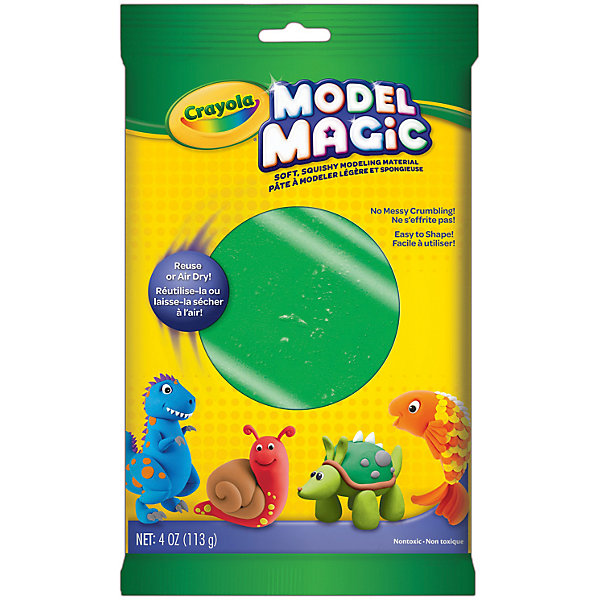 Застывающий пластилин Crayola Model Magic, зеленый 113 грМасса для лепки<br>Характеристики товара:<br><br>• возраст: от 4 лет;<br>• упаковка: пакет;<br>• размеры упаковки - 23х14х4 см.;<br>• вес упаковки: 120 гр.; <br>• состав: пластилин;<br>• цвет: зеленый;<br>• бренд: Crayola (Крайола);<br>• страна-производитель: США.<br><br>Застывающий пластилин «Model Magic» для лепки зеленого цвета от американского производителя Crayola. <br><br>Из данного пластилина можно слепить всевозможные фигурки, тщательно выделывая даже мелкие элементы. Масса имеет способность застывать на открытом воздухе в течение 1 суток, - в зависимости от толщины изделия. Это позволит в дальнейшем раскрасить фигурку, а затем играть с ней.<br><br>Игры с пластилином способствуют развитию мелкой моторики, координации движений, усидчивости, воображения и множеству других полезных навыков. <br><br>Товары для творчества от американского производителя Crayola изготовлены из безопасных для здоровья ребенка материалов, прошедших соответствие европейским стандартам качества. <br><br>Застывающий пластилин «Model Magic», зеленый, Crayola (Крайола) можно купить в нашем интернет-магазине.<br><br>Ширина мм: 40<br>Глубина мм: 140<br>Высота мм: 230<br>Вес г: 120<br>Возраст от месяцев: 48<br>Возраст до месяцев: 2147483647<br>Пол: Унисекс<br>Возраст: Детский<br>SKU: 7187853