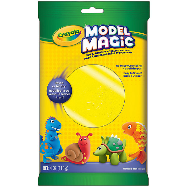 Застывающий пластилин Crayola Model Magic, желтый 113 грМасса для лепки<br>Характеристики товара:<br><br>• возраст: от 4 лет;<br>• упаковка: пакет;<br>• размеры упаковки - 23х14х4 см.;<br>• вес упаковки: 120 гр.; <br>• состав: пластилин;<br>• цвет: желтый;<br>• бренд: Crayola (Крайола);<br>• страна-производитель: США.<br><br>Застывающий пластилин «Model Magic» для лепки желтого цвета от американского производителя Crayola. <br><br>Из данного пластилина можно слепить всевозможные фигурки, тщательно выделывая даже мелкие элементы. Масса имеет способность застывать на открытом воздухе в течение 1 суток, - в зависимости от толщины изделия. Это позволит в дальнейшем раскрасить фигурку, а затем играть с ней.<br><br>Игры с пластилином способствуют развитию мелкой моторики, координации движений, усидчивости, воображения и множеству других полезных навыков. <br><br>Товары для творчества от американского производителя Crayola изготовлены из безопасных для здоровья ребенка материалов, прошедших соответствие европейским стандартам качества. <br><br>Застывающий пластилин «Model Magic», желтый, Crayola (Крайола) можно купить в нашем интернет-магазине.<br><br>Ширина мм: 40<br>Глубина мм: 140<br>Высота мм: 230<br>Вес г: 120<br>Возраст от месяцев: 48<br>Возраст до месяцев: 2147483647<br>Пол: Унисекс<br>Возраст: Детский<br>SKU: 7187856