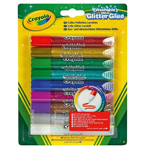 Клей с блестками Crayola, 9 цветовАксессуары для творчества<br>Характеристики товара:<br><br>• возраст: от 4 лет;<br>• упаковка: картонная коробка блистерного типа;<br>• комплект - 9 тюбиков клея;<br>• размеры упаковки - 20х24х6 см.;<br>• вес упаковки: 150 гр.; <br>• материал: пластик, клей;<br>• время застывания: 30 сек.;<br>• бренд: Crayola (Крайола);<br>• страна-производитель: США.<br><br>Клей с блестками от американского производителя Crayola состоит из набора 9 тюбиков разного цвета. <br><br>Клей с блестками Crayola отлично подойдет для праздничного оформления подарков, рисунков, плакатов, картин. Эти клеевые фломастеры также помогут украсить посуду, одежду и другие предметы. <br><br>Такой набор поможет детям развить фантазию, улучшать творческий навык, а также создавать оригинальные вещи.<br><br>Товары для творчества от американского производителя Crayola изготовлены из безопасных для здоровья ребенка материалов, прошедших соответствие европейским стандартам качества. <br><br>Клей с блестками, 9 тюбиков, Crayola (Крайола) можно купить в нашем интернет-магазине.<br>Ширина мм: 16; Глубина мм: 145; Высота мм: 190; Вес г: 150; Возраст от месяцев: 48; Возраст до месяцев: 2147483647; Пол: Унисекс; Возраст: Детский; SKU: 7187857;