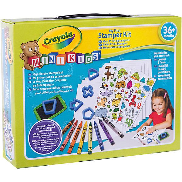 Набор для творчества Crayola Mini Kids Мой первый набор печатейДетские печати и штампы<br>Характеристики товара:<br><br>• возраст: от 4 лет;<br>• упаковка: картонная коробка;<br>• комплект: 8 восковых карандашей, 5 трафаретов, наклейки, аксессуары;<br>• размеры упаковки: 25х19х6 см.;<br>• вес упаковки: 300 гр.; <br>• материал: воск, пластик, бумага, полимер;<br>• бренд: Crayola (Крайола);<br>• страна-производитель: США.<br><br>Набор для творчества «Мой первый набор печатей» от американского производителя Crayola поможет ребенку украсить свои рисунки при помощи всевозможных атрибутов, среди которых трафареты, восковые карандаши и наклейки. <br><br>Трафареты познакомят юного художника с геометрическими формами, которые можно использовать в рисунках, а благодаря наклейкам ребенок узнает много нового о животных и предметах.<br><br>Увлекательный набор станет отличным подарком для девочек и мальчиков старше 4 лет и поспособствует развитию мелкой моторики, координации движений, усидчивости, воображения и множеству других полезных навыков.<br><br>Товары для творчества от американского производителя Crayola изготовлены из безопасных для здоровья ребенка материалов, прошедших соответствие европейским стандартам качества. <br><br>Набор для творчества «Мой первый набор печатей» Crayola (Крайола) можно купить в нашем интернет-магазине.<br>Ширина мм: 60; Глубина мм: 242; Высота мм: 190; Вес г: 300; Возраст от месяцев: 12; Возраст до месяцев: 2147483647; Пол: Унисекс; Возраст: Детский; SKU: 7187858;