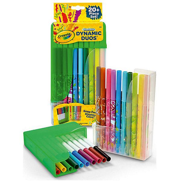 Парные фломастеры Crayola Dynamic Duos Super Tips Markers, 20 штукФломастеры<br>Характеристики товара:<br><br>• возраст: от 4 лет;<br>• упаковка: картонная коробка блистерного типа;<br>• размеры упаковки - 27х13х3 см.;<br>• вес упаковки: 280 гр.; <br>• состав: пластмасса, стержень, чернила;<br>• комплект:  20 фломастеров, подставка;<br>• бренд: Crayola (Крайола);<br>• страна-производитель: США.<br><br>Парные фломастеры «Dynamic Duos Super Tips Markers» - это набор из 20 парных фломастеров разных цветов в пластиковой подставке от американского производителя Crayola. <br><br>Данные фломастеры не имеют не приятного запаха и оставляют четкий и насыщенный след на рабочей поверхности. Фломастеры упакованы в коробку, трансформирующуюся в две подставки для маркеров, позволяющие сохранять порядок на столе. <br><br>Рисование способствует развитию творческих навыков, мелкой моторики, координации движений, усидчивости, воображения и множеству других полезных вещей. <br><br>Товары для творчества от американского производителя Crayola изготовлены из безопасных для здоровья ребенка материалов, прошедших соответствие европейским стандартам качества. <br><br>Парные фломастеры «Dynamic Duos Super Tips Markers», 20 шт. в подставке, Crayola (Крайола) можно купить в нашем интернет-магазине.<br><br>Ширина мм: 127<br>Глубина мм: 34<br>Высота мм: 274<br>Вес г: 280<br>Возраст от месяцев: 36<br>Возраст до месяцев: 2147483647<br>Пол: Унисекс<br>Возраст: Детский<br>SKU: 7187862