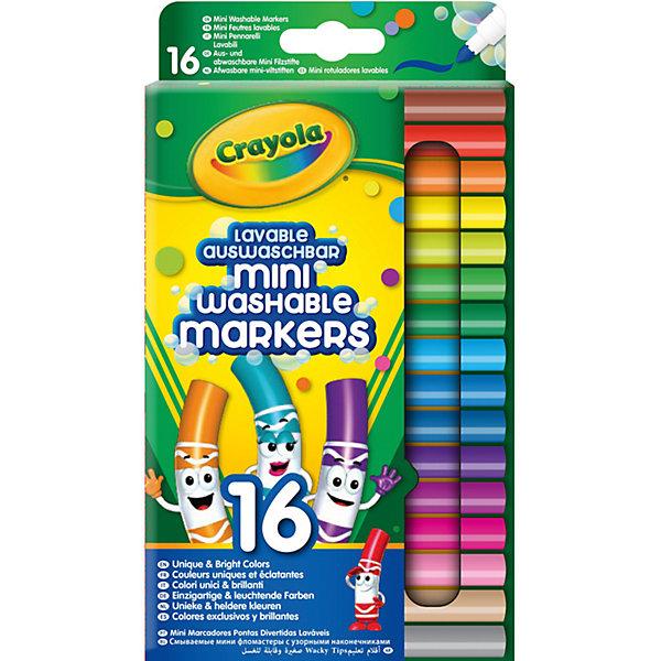 Набор смываемых мини-фломастеров Crayola, 16 штукФломастеры<br>Характеристики товара:<br><br>• возраст: от 4 лет;<br>• упаковка: картонная коробка блистерного типа;<br>• размеры упаковки - 23х10х1 см.;<br>• вес упаковки: 175 гр.; <br>• состав: пластик, красящие пигменты;<br>• комплект:  16 мини-фломастеров;<br>• бренд: Crayola (Крайола);<br>• страна-производитель: США.<br><br>Набор смываемых мини-фломастеров представляет собой набор из 12 парных фломастеров разных цветов от американского производителя Crayola. <br><br>Данные фломастеры не имеют не приятного запаха, оставляют насыщенный цвет, который обладает уникальной способностью с легкостью смываться с любых поверхностей.  <br><br>Восхитительный набор подарит безграничный простор для фантазии ребенка и позволит ему воплотить в жизнь самые смелые и креативные идеи. Рисование способствует развитию творческих навыков, мелкой моторики, координации движений, усидчивости, воображения и множеству других полезных вещей. <br><br>Товары для творчества от американского производителя Crayola изготовлены из безопасных для здоровья ребенка материалов, прошедших соответствие европейским стандартам качества. <br><br>Набор смываемых мини-фломастеров, 16 шт. в подставке, Crayola (Крайола) можно купить в нашем интернет-магазине.<br>Ширина мм: 105; Глубина мм: 11; Высота мм: 235; Вес г: 173; Возраст от месяцев: 36; Возраст до месяцев: 2147483647; Пол: Унисекс; Возраст: Детский; SKU: 7187864;