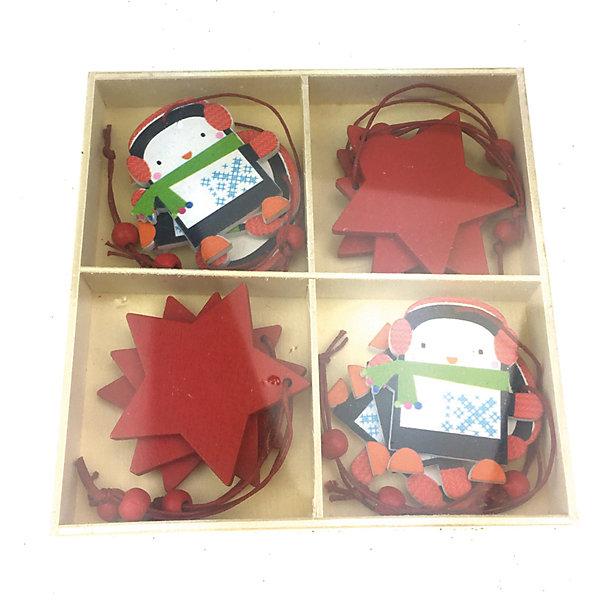 Украшение на елку Яркий праздник Пингвины 13х13Новинки Новый Год<br>Характеристики:<br><br>• возраст: от 3 лет;<br>• материал: дерево; <br>• цвет: красный, белый;<br>• размер: 13х13х13 см;<br>• вес: 120 гр;<br>•страна производитель: Китай.<br><br>Необычные елочные игрушки от производителя «Яркий праздник» позволят создать неповторимую елку, которая запомниться всем гостям. Украсить новогоднее дерево можно в ЭКО стиле, благодаря современному набору игрушек из нетоксичных, натуральных материалов. Подвесные украшения изготовлены из натурального дерева, поэтому они абсолютно безопасны даже для самых маленьких деток.<br><br>Можно не переживать за то, что игрушки разобьются и поранят детей - деревянные украшения на елку представляют собой единое целое. Экологически чистый материал позволит использовать их из года в год, принося радость и новогоднюю атмосферу всем членам семьи. <br><br>Эти легкие украшения созданы в виде красивых пингвинов. Также в наборе имеется несколько игрушек в форме красных звездочек, чтобы усовершенствовать образ новогодней красавицы-ели. Игрушки-пингвины имеют маленький вес – они подойдут для детей от трех лет.<br><br> Украшения подвесные из дерева «Пингвины», арт.17233 (1/12/72) / 13х13 см  можно купить в нашем интернет-магазине.<br><br>Ширина мм: 130<br>Глубина мм: 130<br>Высота мм: 130<br>Вес г: 120<br>Возраст от месяцев: 36<br>Возраст до месяцев: 2147483647<br>Пол: Унисекс<br>Возраст: Детский<br>SKU: 7187903